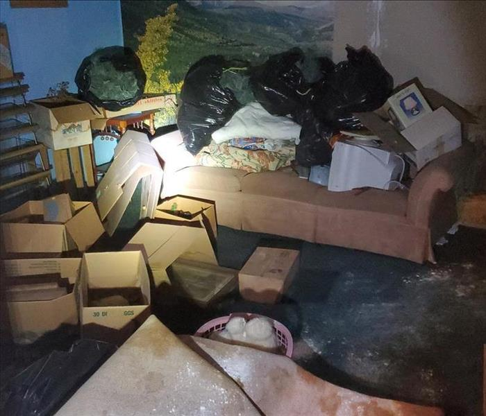 basement full of contents with mold damage